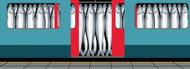混雑する電車の中で通勤者に見立てられたイワシ